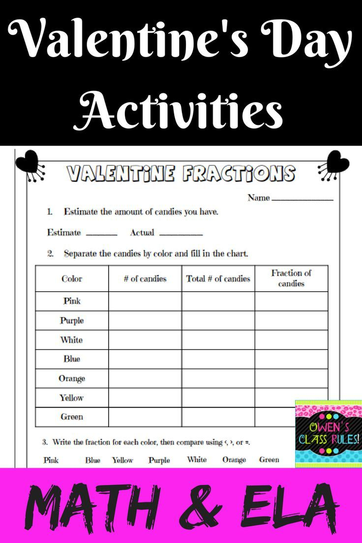Valentine's Day Activities (With images) Math fraction