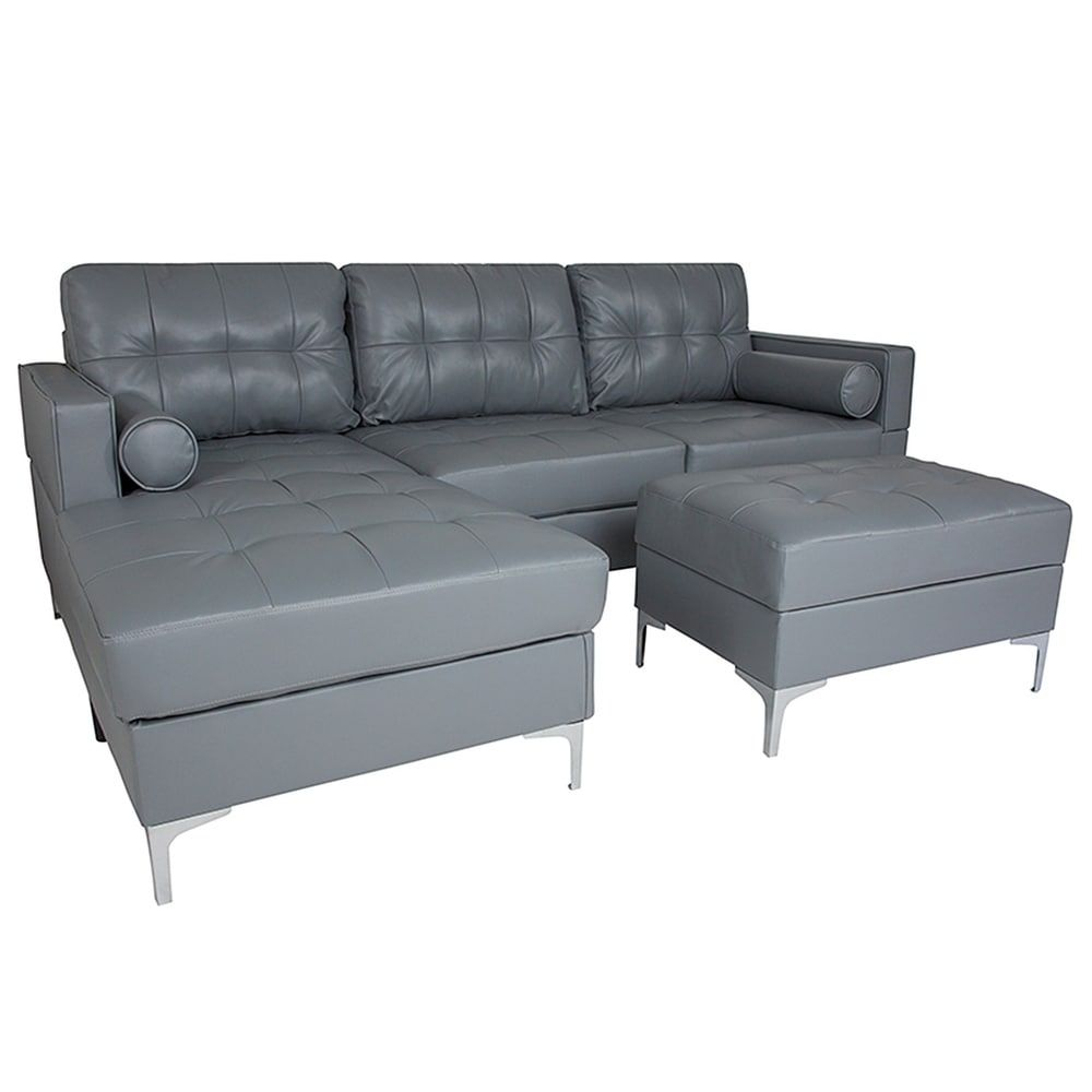 Bellmore 3 Piece Grey Leather Sectional Sofa With Left Facing Chaise And Storage Ottoman Gray In 2020 Grey Leather Sectional Sectional Sofa Sofa Seat Cushions