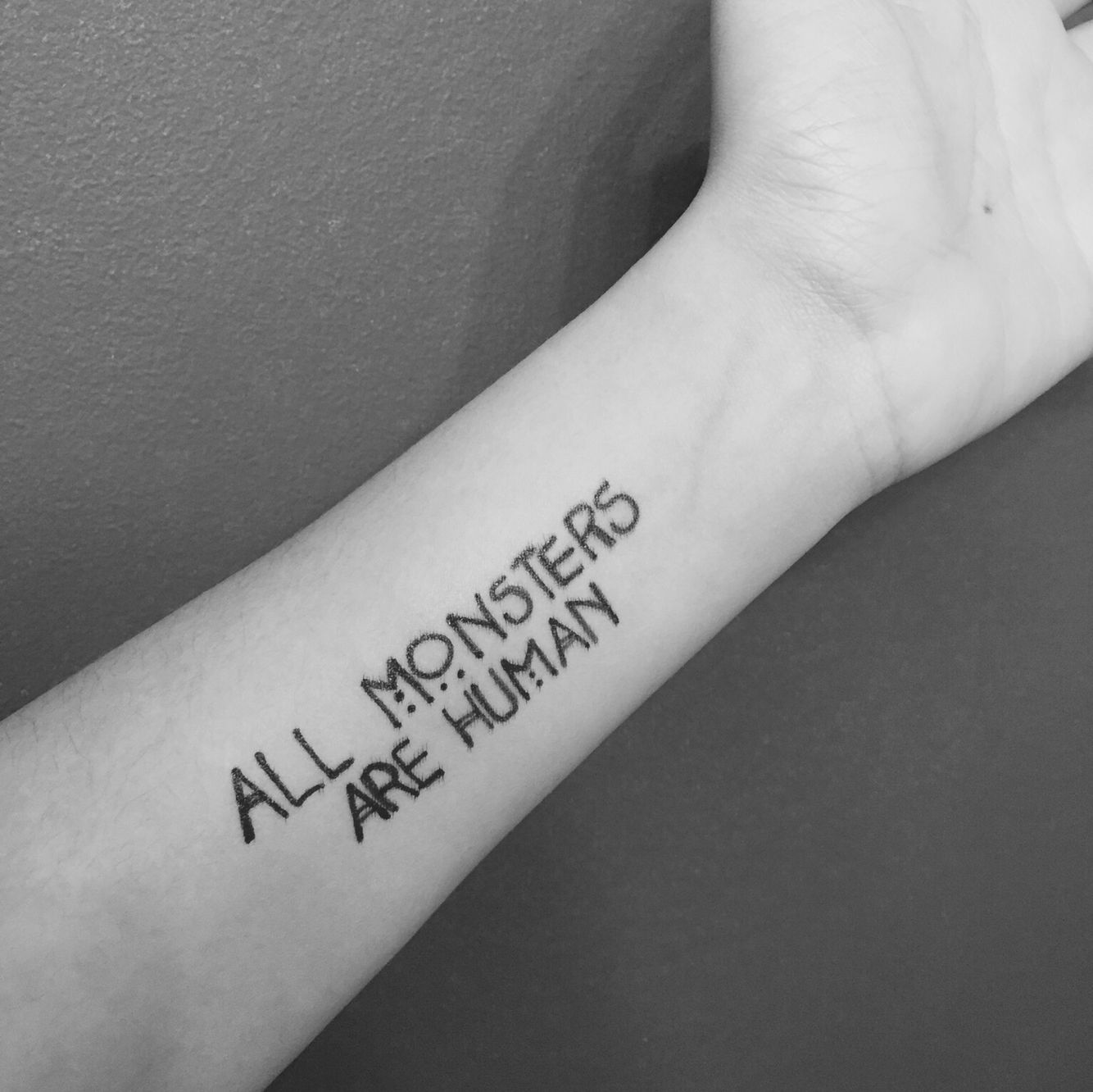 American Horror Story Tattoo All Monsters Are Human Movie Tattoos Forearm Tattoo Girl Tattoos