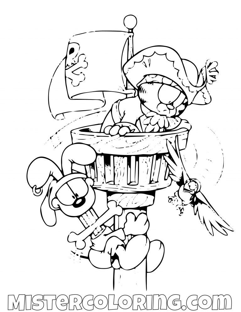 Garfield And Odie As Pirates On Top Coloring Page | gaft | Pinterest ...