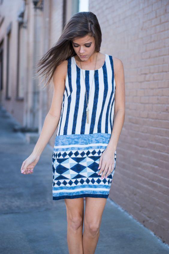 Geometric Gem Dress, Navy - The Mint Julep Boutique