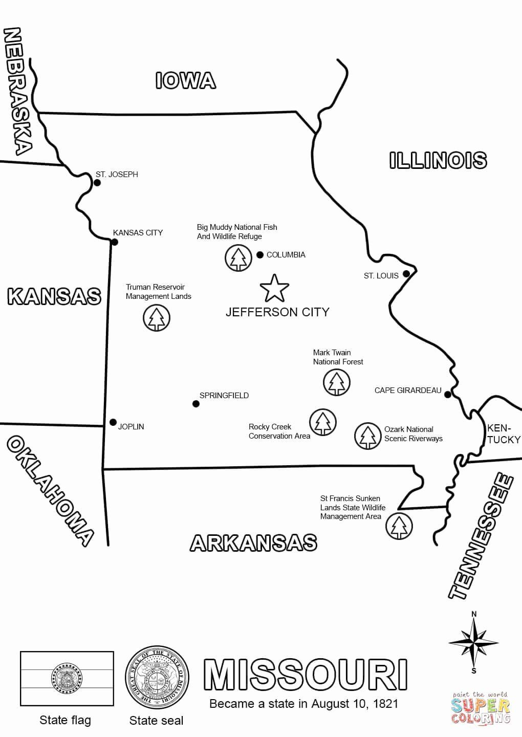 Iowa state flag coloring page fresh missouri map coloring page