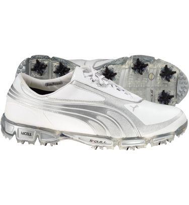 4a8e12bd7095f6 Puma Mens AMP Cell Fusion SL Limited Edition Golf Shoes White Puma Silver