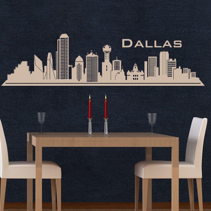 Dallas Skyline Wall Decal Dallas skyline, Wall decals