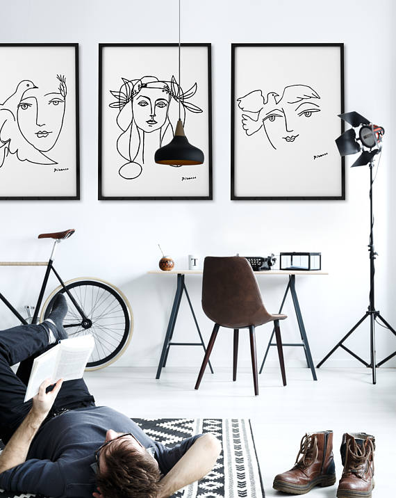 Picasso black and white prints picasso print set of 3 posters
