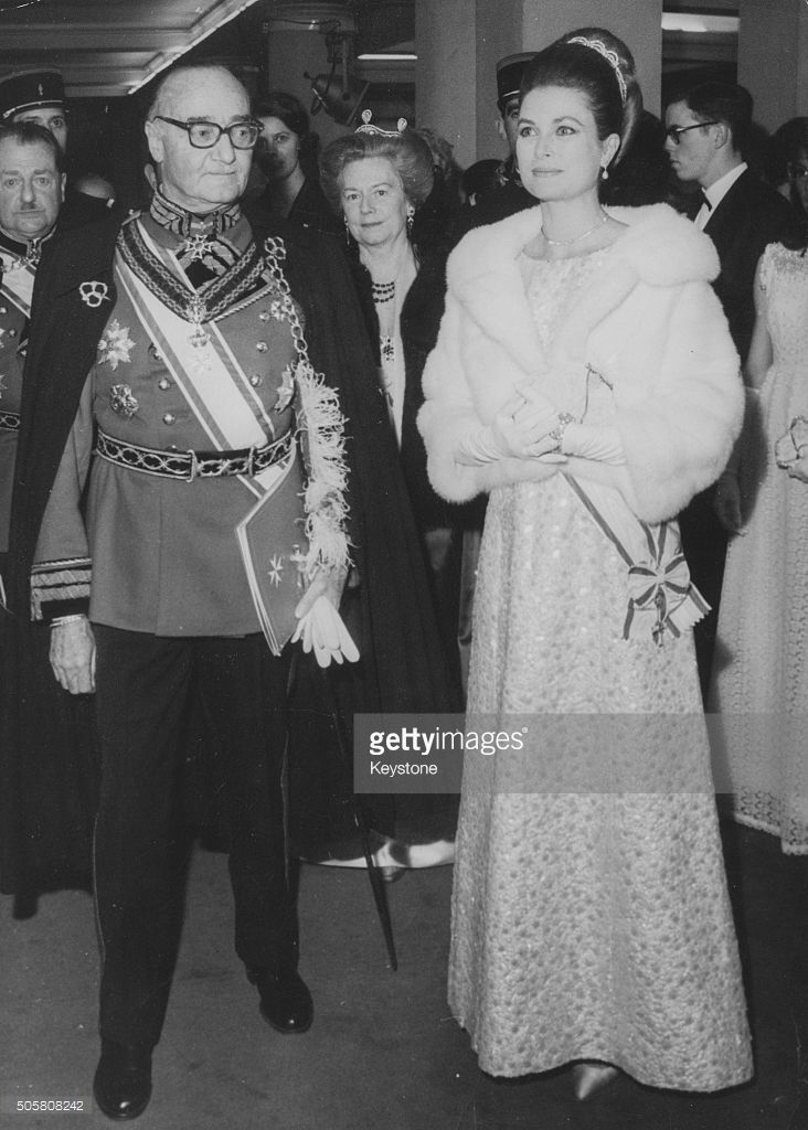 Prince Guy de Polignac and Princess Grace of Monaco attending a gala performance sponsored by the Knights of Malta, at the Champs Elysee Theatre in Paris, April 11th 1967.