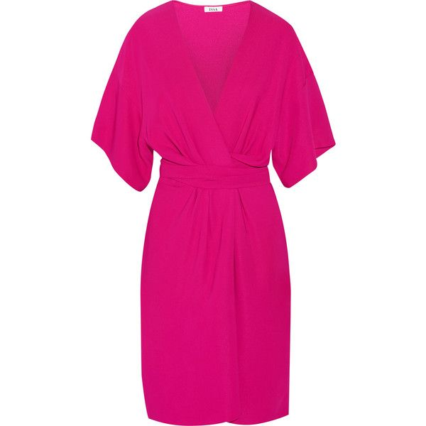 Issa Geri Stretch Crepe Wrap Effect Dress Petite Wrap Dress Pink Wrap Dress Fuschia Pink Dress