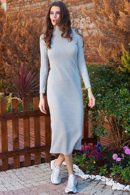 Yarim Balikci Yaka Triko Midi Gri Elbise Elbise Modelleri Triko Elbise