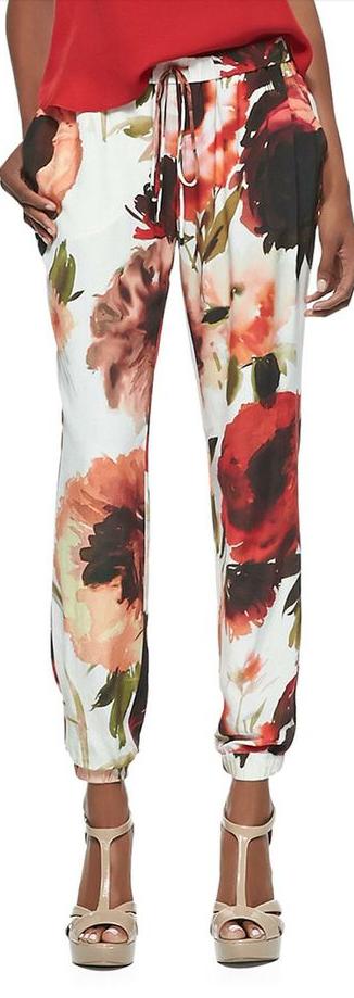 casual floral pants, sport style floral pants