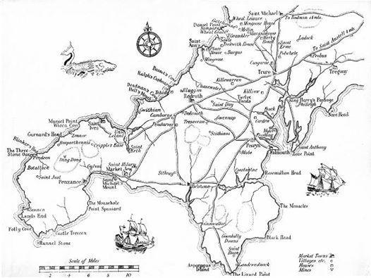 Winston Graham's own map of Poldark's Cornwall. Look
