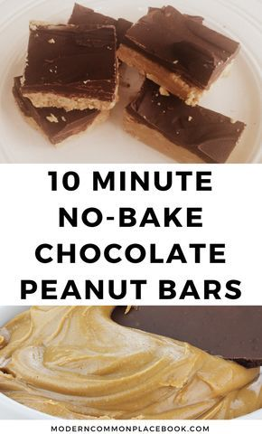 No-bake Chocolate Peanut Bars (only 4 ingredients!) images