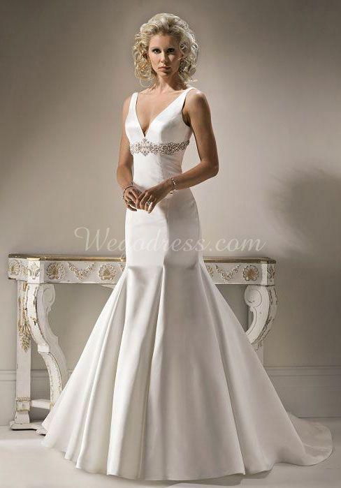 satin V Neck Empire Floor-Length Sleeveless Wedding Dress with Bowknot & Beading - Wegodress.com