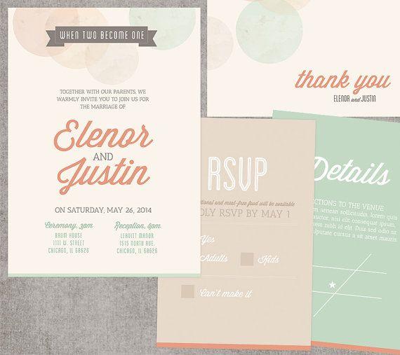 Invitation de mariage imprimable Polka Dot, RSVP, détails, je vous