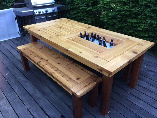 cedar patio table w hidden coolers do it yourself home projects rh pinterest com outdoor cooler table cooler patio set