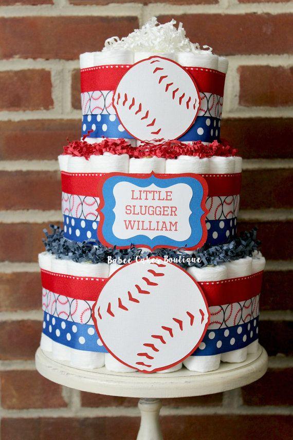 3 Tier Baseball Diaper Cake Boys Baseball Baby Shower Sports
