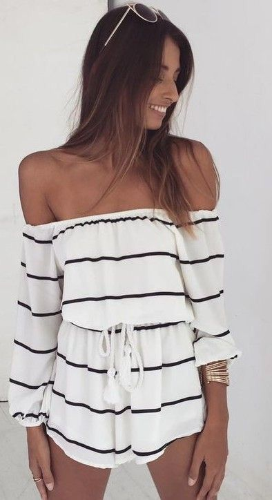 cute summer romper, love the off shoulder look, great as a ...
