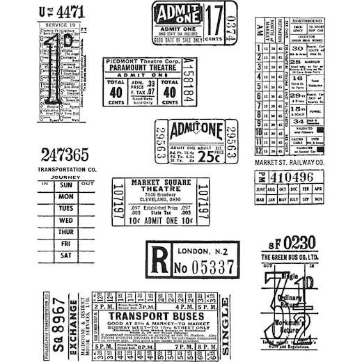 Tim Holtz Cling Rubber Stamps - Ticket Booth CMS 337