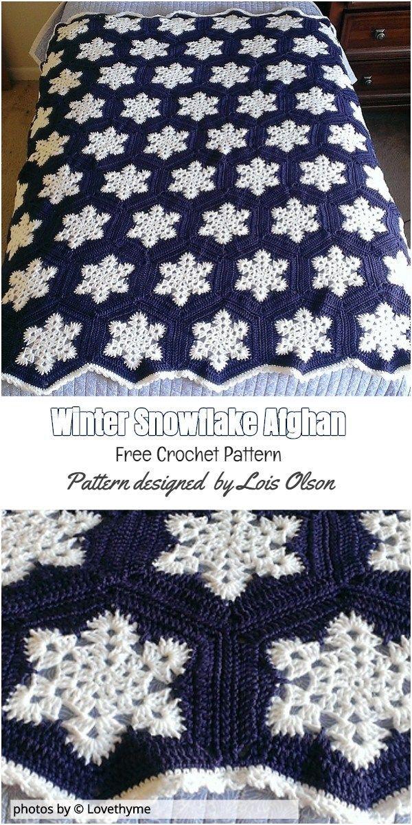 Winter-Schneeflocke-afghanische Musteridee #häkeln #winterafghanidea #afghans