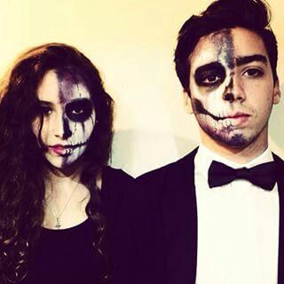 Couple half skull face costume // HALLOWEEN