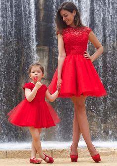 Vestido de festa curto mae e filha
