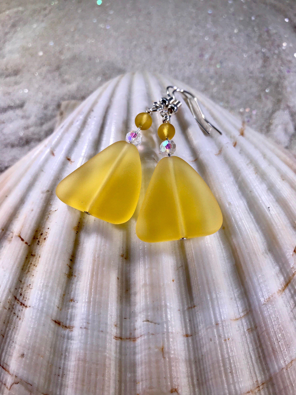 Yellow Beach Gl Earrings Beautiful Sunny Jewelry