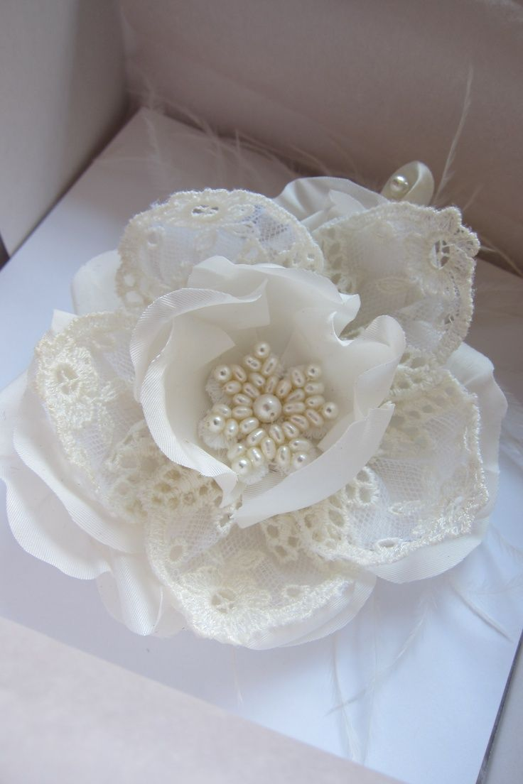 Lace And Fabric Flower Flowers Lace Pinterest Fabric Flowers