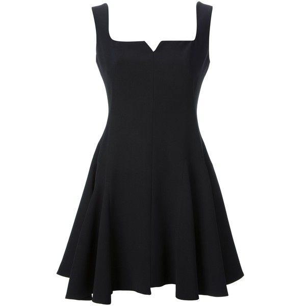 Alexander McQueen Flared Skater Dress ($1,120) ❤ liked on Polyvore featuring dresses, skater dress, vestidos, black, flare skater dress, flare dress, short flared dresses and square neck dress
