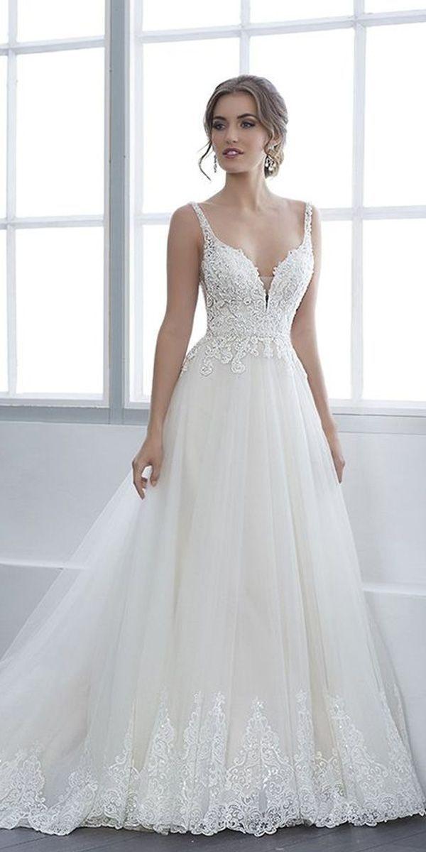 [245.55] Fantastisches Tüll V-Ausschnitt A-Linie Brautkleid mit Perle …