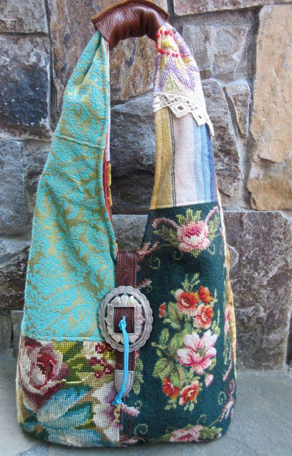 Vintage Flower Needlepoint Velvet Chenille by