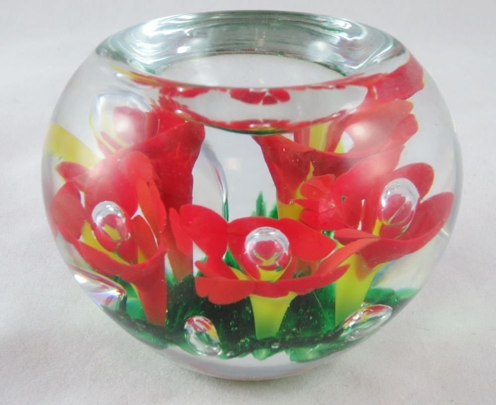 Vintage Gibson Hand Blown Studio Art Glass Paperweight Red Yellow Floral Marked Art Glass Paperweight Studio Art Glass Glass Art