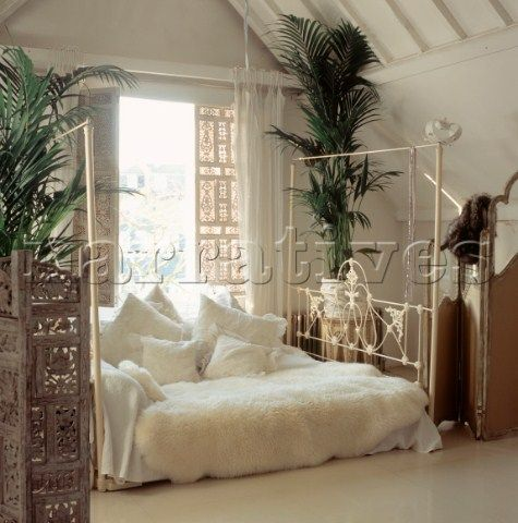 Master Bedroom With Antique Four Poster Bed Layered Cushions Embellished Delicate Old Lace