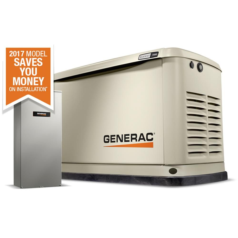 Generac 11 000 Watt Air Cooled Standby Generator With 16 Circuit 100 Amp Automatic Transfer Switch 7032 Standby Generators Transfer Switch Whole House Generators