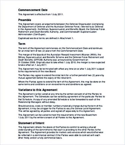 Military Service Level Agreement Template , Service Level Agreement