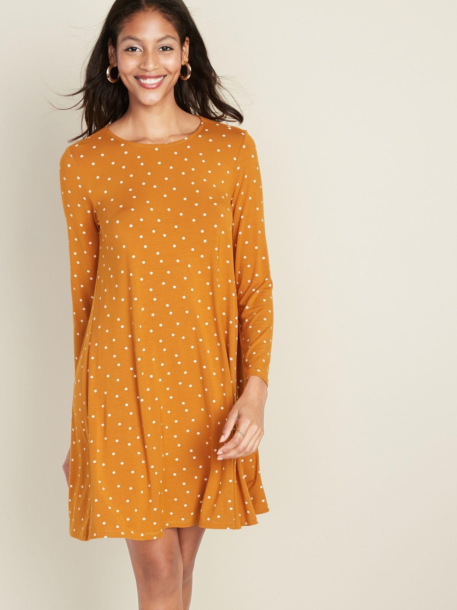 Longsleeve jerseyknit swing dress for women knit swing