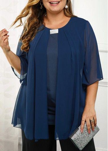 Photo of Plus Size Chiffon Overlay Embellished Neck Blouse | Rotita.com – USD $28.07