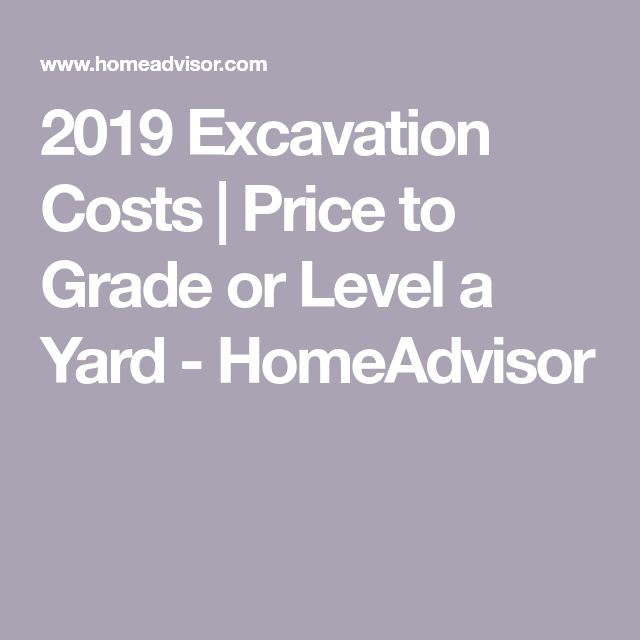 2019 Excavation Costs | Price to Grade or Level a Yard ...