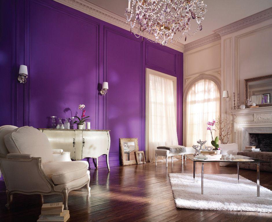 Interior Elegant Purple Living Room With White Sofa And Chandelier Purple Bedroom Purple Purple Living Room Paint Colors For Living Room Living Room Colors #purple #accents #for #living #room