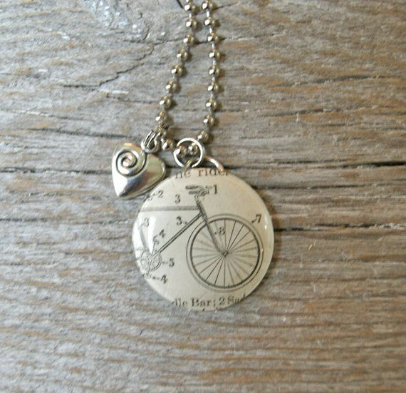 Bicycle Bike Ride Cycling - Altered Vintage Glass Watch Crystal Pendant Necklace - Recycled Upcycled