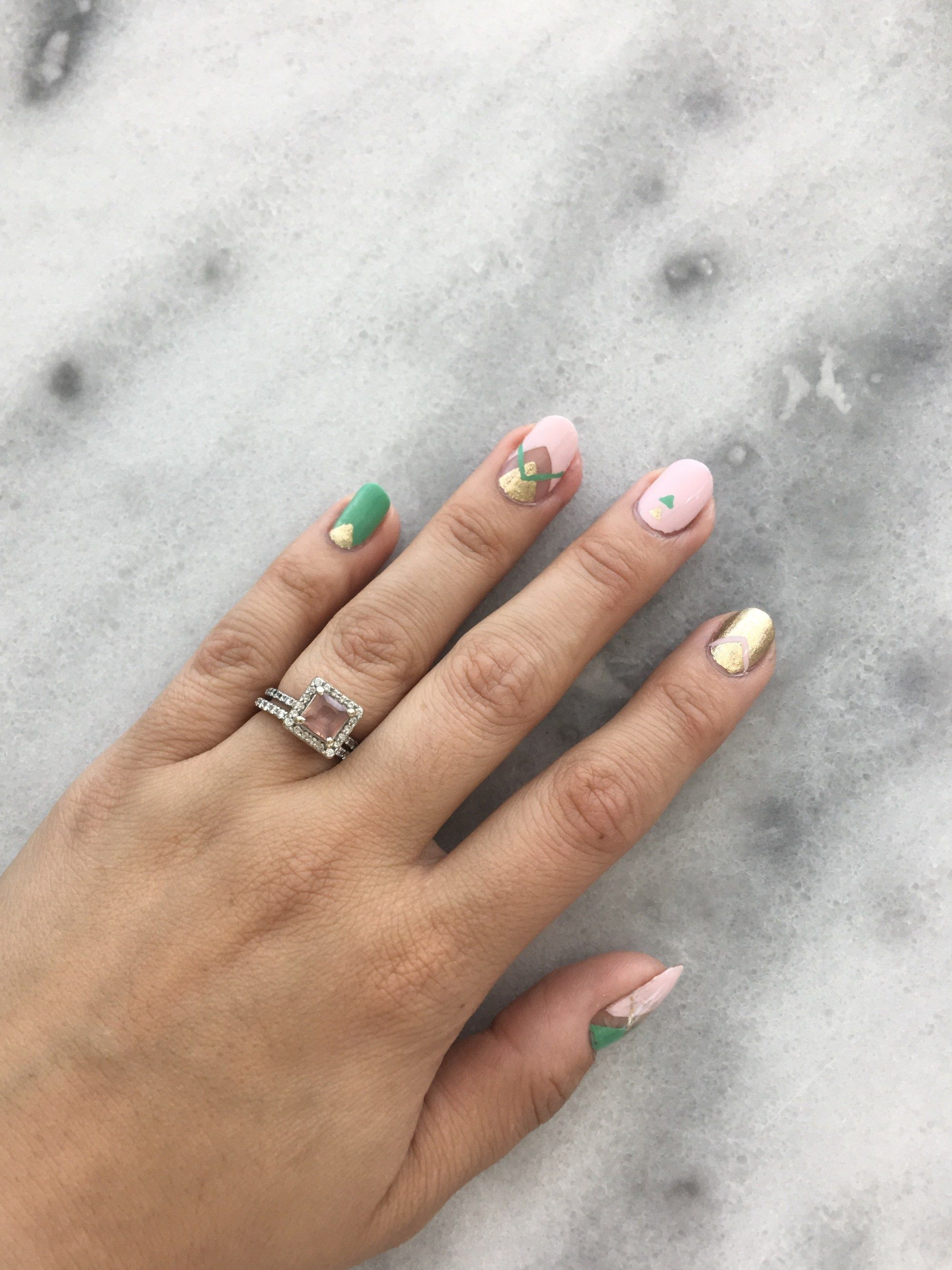 Mint, Blush, and Gold Nail Art | Gold nail art, Painted nail art and ...
