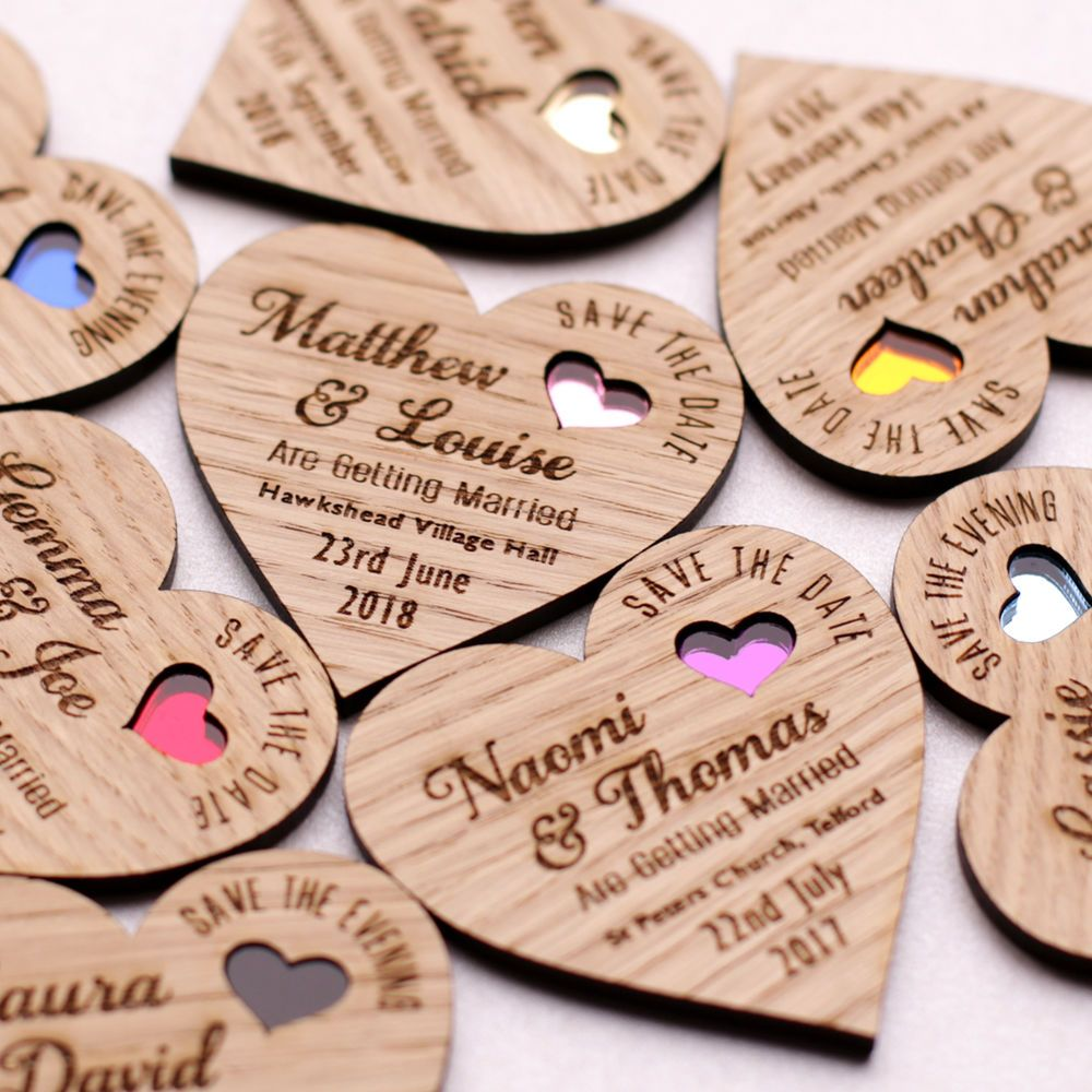 save the date wood heart magnet wooden wedding magnets coloured