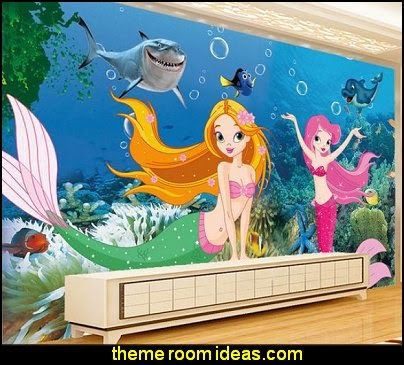 Underwater world aquarium dimensional cartoon mermaid for Underwater mural ideas