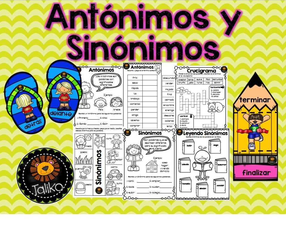 Synonyms And Antonyms Sinonimos Y Antonimos Synonyms And
