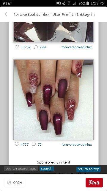 Burgundy nails!!!!:>