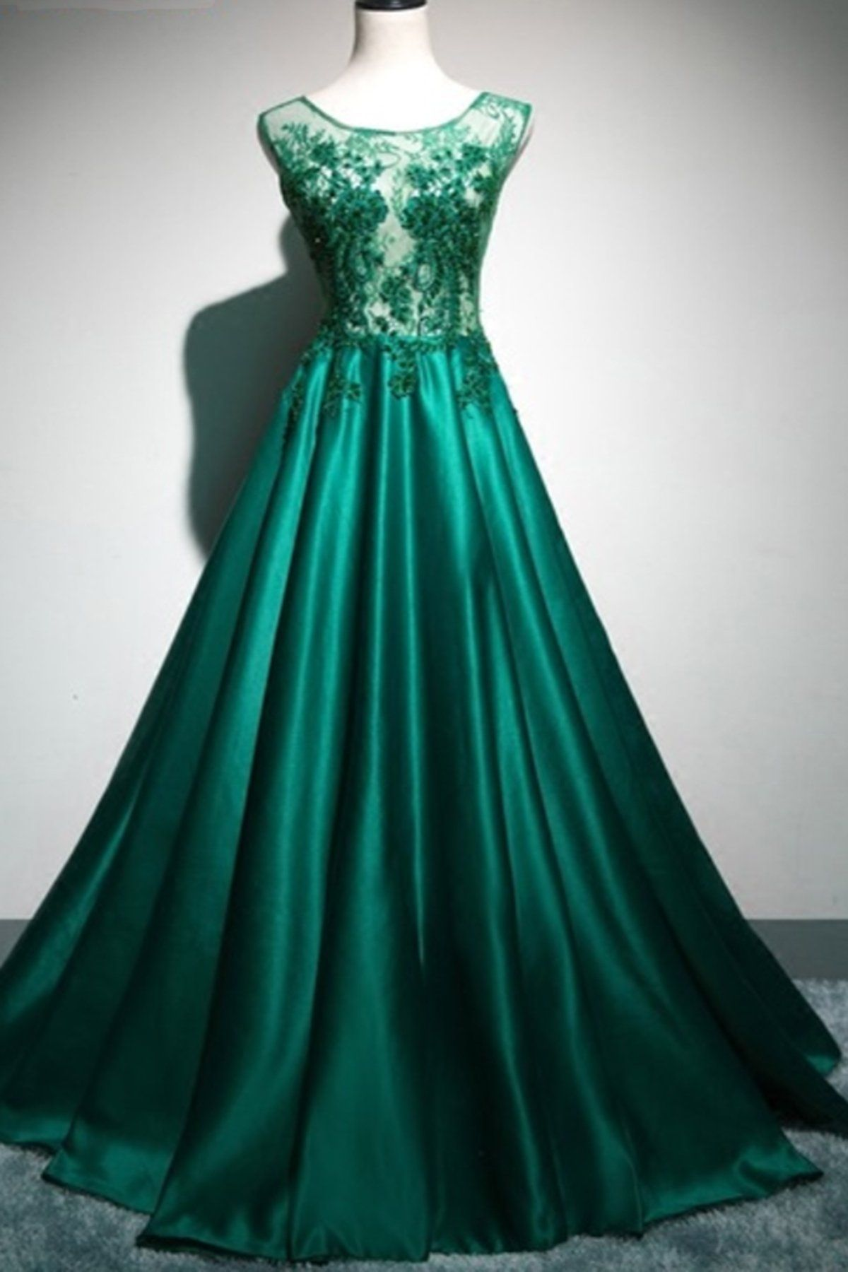 Deep Green Satin Long Lace Top See Through Evening Dresses Halter Winter Formal Prom Dress