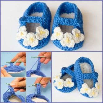 Mary jane baby booties crochet pattern wonderfuldiy knitting and free mary jane baby slippers pattern any little girl will look adorable sporting this mary jane slippers its super cute with crochet flowers decoration dt1010fo