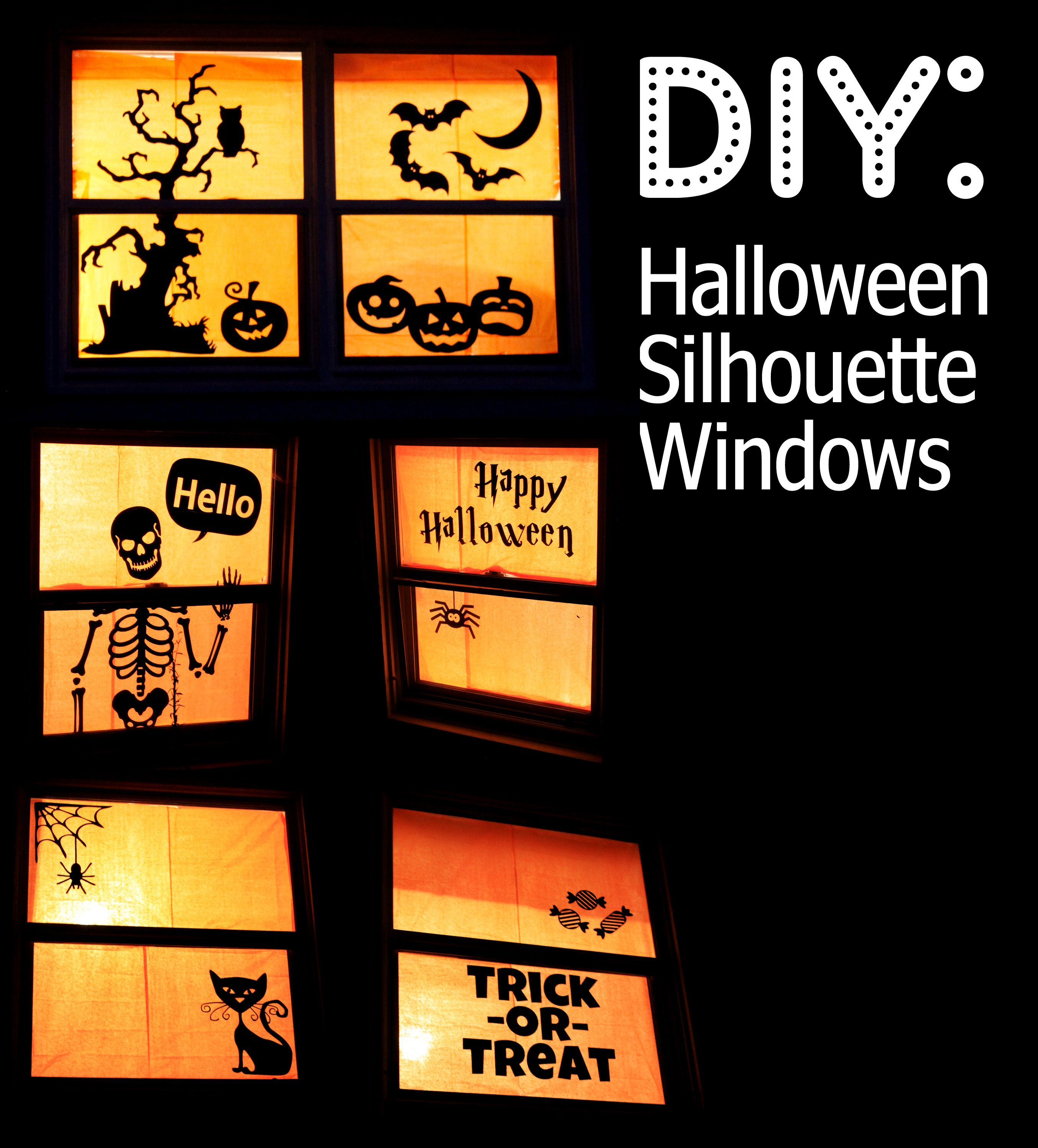 Easy homemade halloween decorations - Halloween Silhouette Windows Diy I Need Me Some Construction Paper