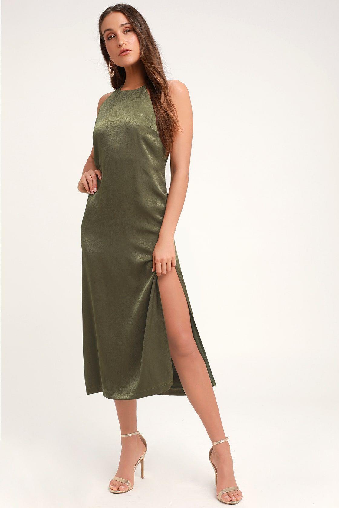 0b179a3200b5e0 Lulus | Savona Olive Green Satin Midi Dress | Size Large | 100 ...