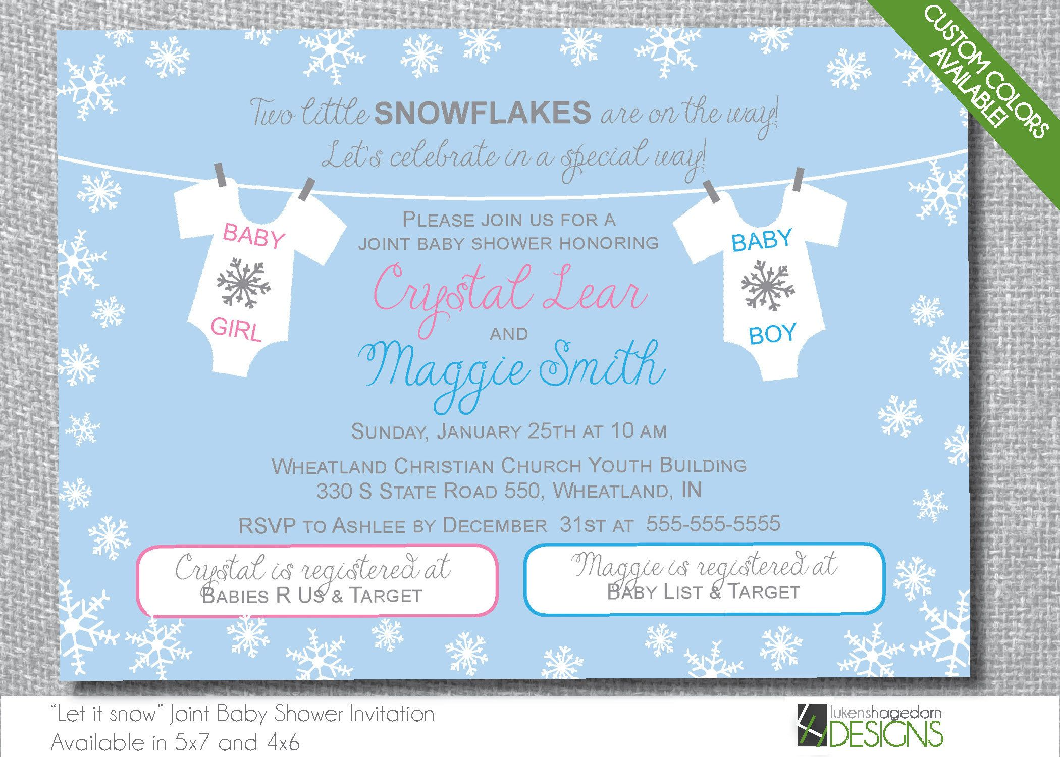 Winter Snowflakes Double Baby Shower Invitation - Custom Colors ...