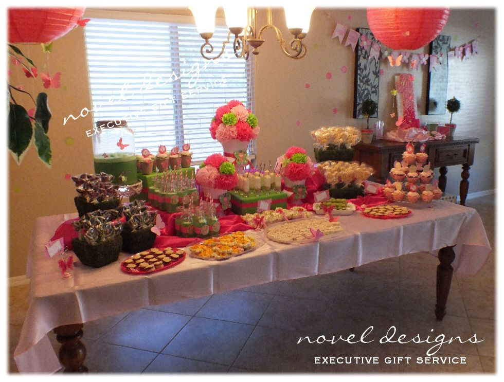 Butterfly 1st Birthday Party Buffet Table, Hanging Butterfly Lanterns, Gift Table