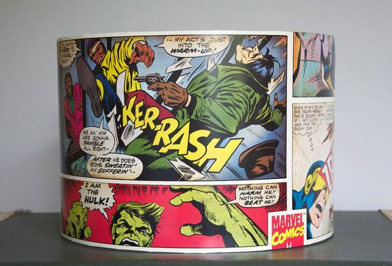 Marvel print lampshade, great for childrens bedroom.    Shown here: 30cm by 25cm for a ceiling pendant.    This shade can be made to any size or
